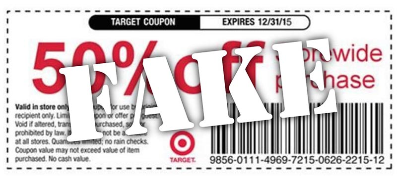 example of fake Target coupon